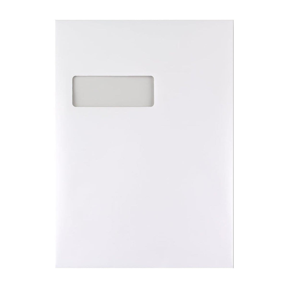 C4 White Tear Resistant Gusset Window Peel & Seal Envelopes [Qty 125] 229 x 324 x 25mm (2131263062105)