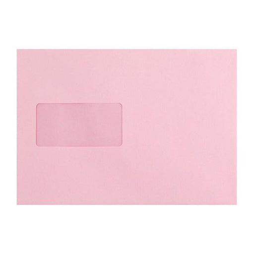 C5 Baby Pink Window Envelopes 120gsm Peel & Seal [Qty 500] 162 x 229mm (2131038371929)