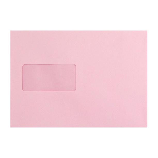 C5 Baby Pink Window Envelopes 120gsm Peel & Seal [Qty 500] 162 x 229mm