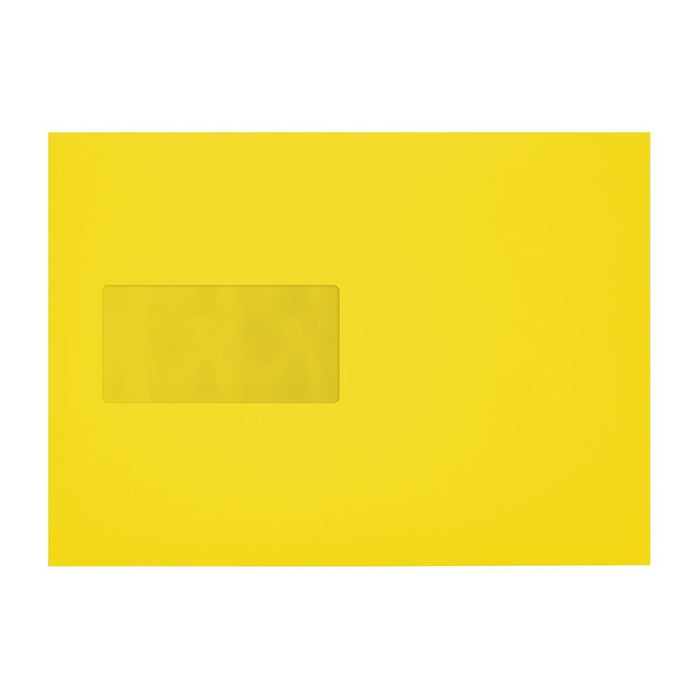 C5 Canary Yellow 120gsm Window Peel & Seal Envelopes [Qty 250] 162 x 229mm