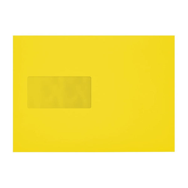 C5 Canary Yellow 120gsm Window Peel & Seal Envelopes [Qty 250] 162 x 229mm (2131036897369)