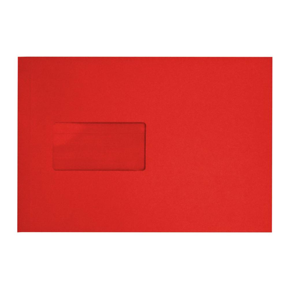 C5 Red Window Gusset 140gsm Peel & Seal Envelopes [Qty 125] 162 x 229mm