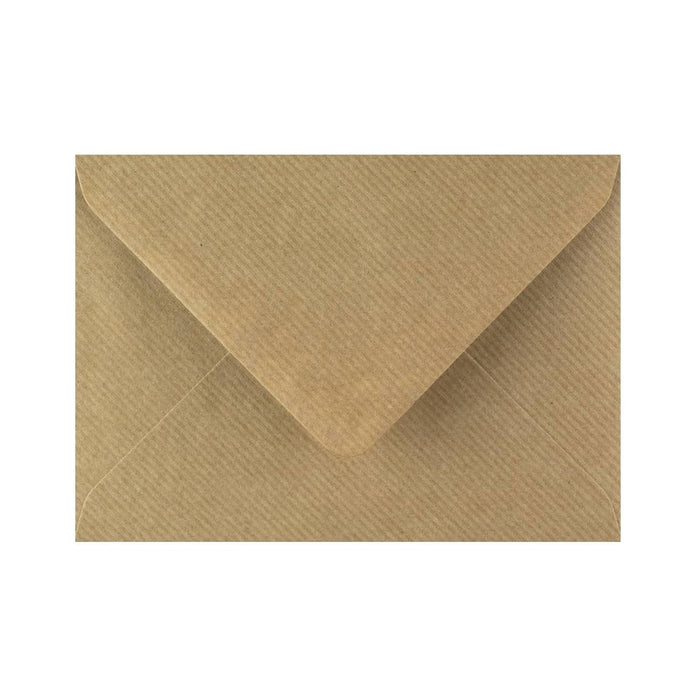 C6 Brown Ribbed Gummed Diamond Flap Greeting Envelopes [Qty 1,000] 114 x 162mm (2131129401433)
