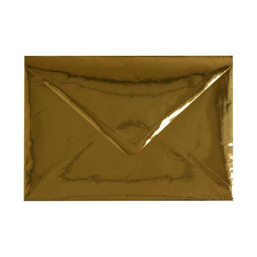 C6 Metallic Gold Mirror Finish 120gsm Gummed Envelopes [Qty 100] 114 x 162mm