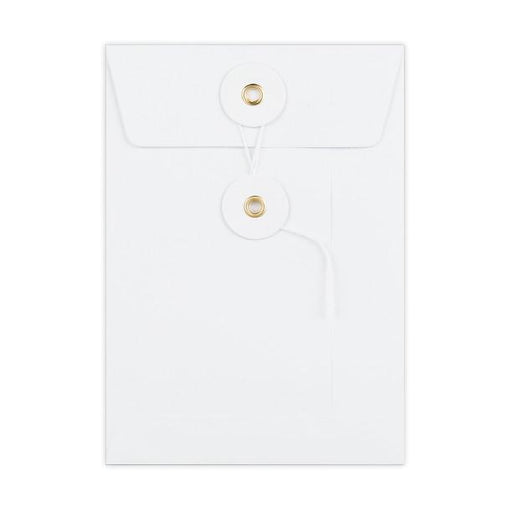 C6 White String & Washer Gusset Envelopes [Qty 100] 162 x 114 x 25mm (2131346817113)