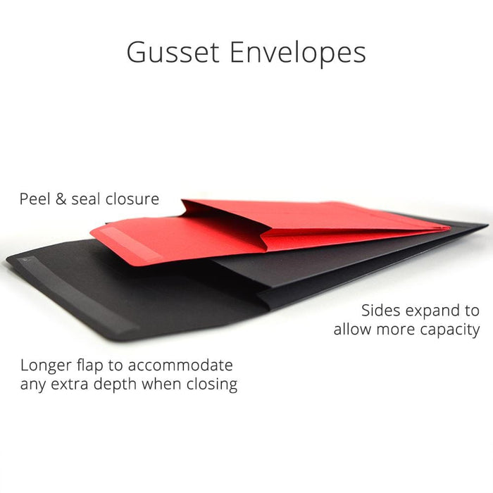 C4 Black Gusset 180gsm Envelopes [Qty 200] 229 x 324 x 25mm