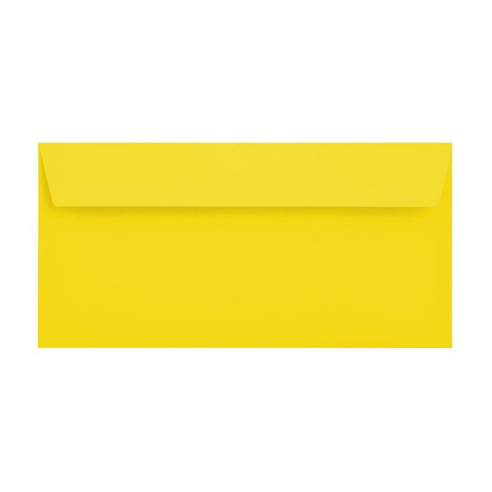 DL Canary Yellow 120gsm Peel & Seal Envelopes [Qty 500] 114 x 229mm (2131093160025)
