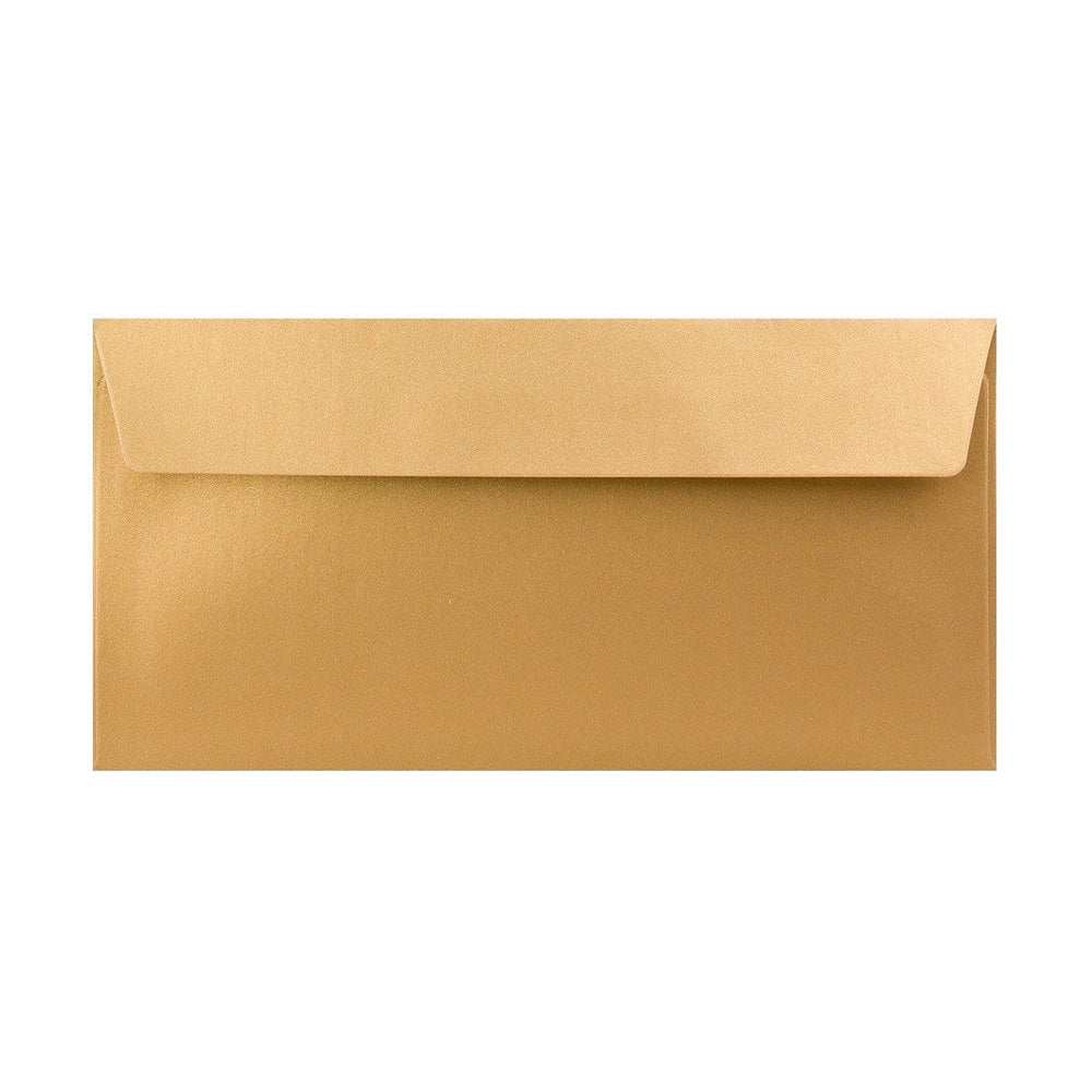 DL Pearlescent Gold 120gsm Peel & Seal Envelopes [Qty 250] 110 x 220mm (2131257753689)