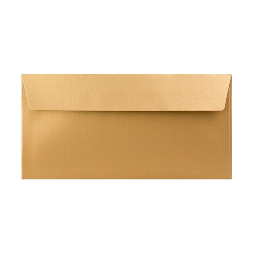 DL Pearlescent Gold 120gsm Peel & Seal Envelopes [Qty 250] 110 x 220mm