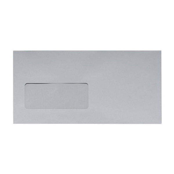 DL Grey Window 120gsm Peel & Seal Envelopes [Qty 500] 110 x 220mm