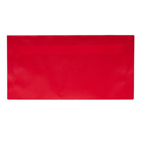 110 x 220 Translucent DL Poppy Red Peel & Seal Envelopes [Qty 100]