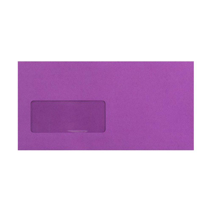 DL Purple Window Envelopes [Qty 500] 120gsm Peel & Seal 110 x 220mm (2131041484889)