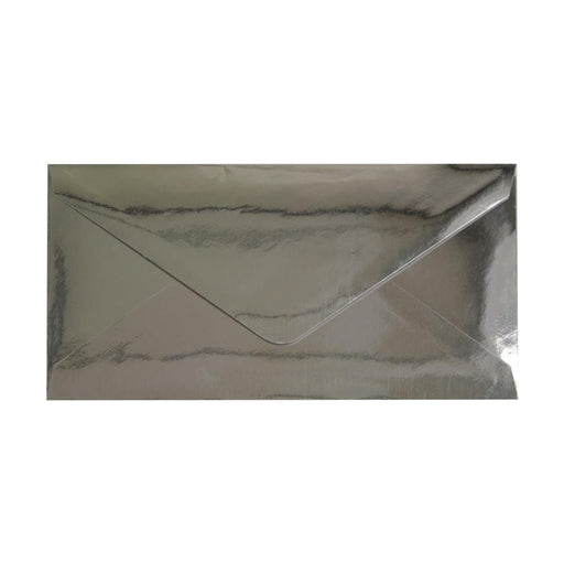 DL Metallic Silver Mirror Finish 120gsm Gummed Envelopes [Qty 50] 110 x 220mm