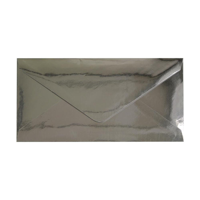 DL Metallic Silver Mirror Finish 120gsm Gummed Envelopes [Qty 50] 110 x 220mm (2131248447577)