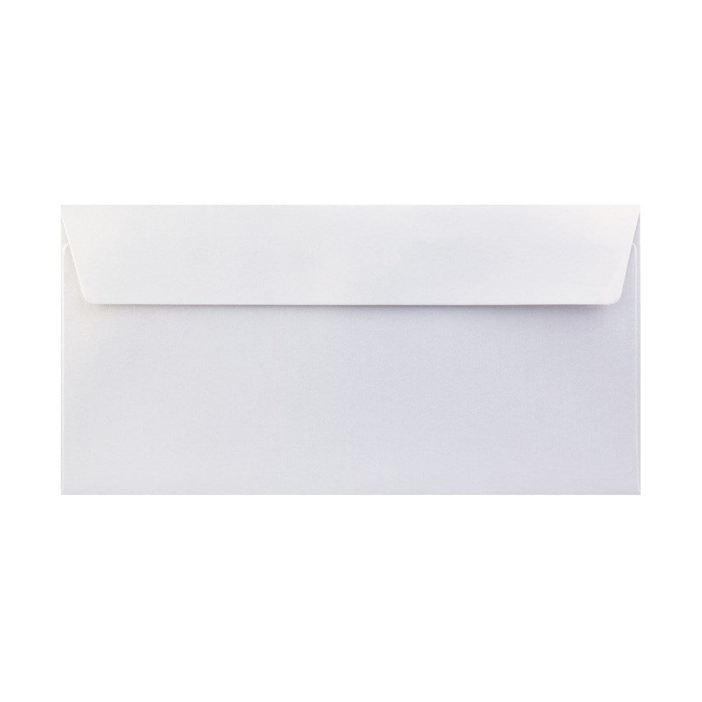 DL Pearlescent Ice White 120gsm Peel & Seal Envelopes [Qty 250] 110 x 220mm (2131257065561)