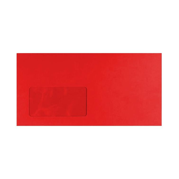 DL Pillar Box Red Window 120gsm Peel & Seal Envelopes [Qty 250] 114 x 229mm