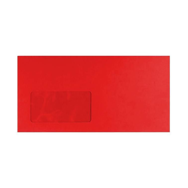 DL Pillar Box Red Window 120gsm Peel & Seal Envelopes [Qty 250] 114 x 229mm (2131467698265)