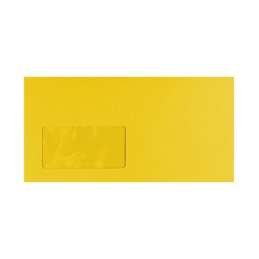 DL Canary Yellow Window 120gsm Peel & Seal Envelopes [Qty 250] 114 x 229mm