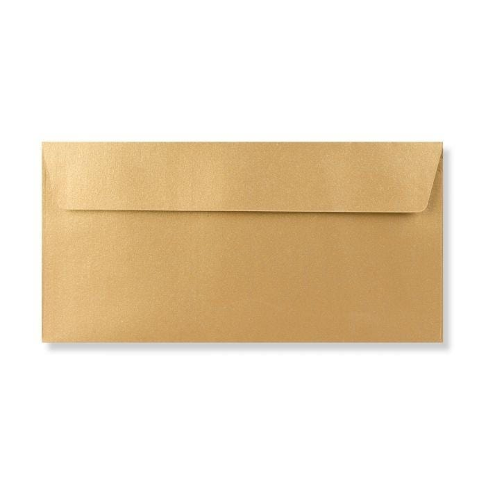 DL Metallic Gold 120gsm Peel & Seal Envelopes [Qty 250] 110 x 220mm (2131440894041)