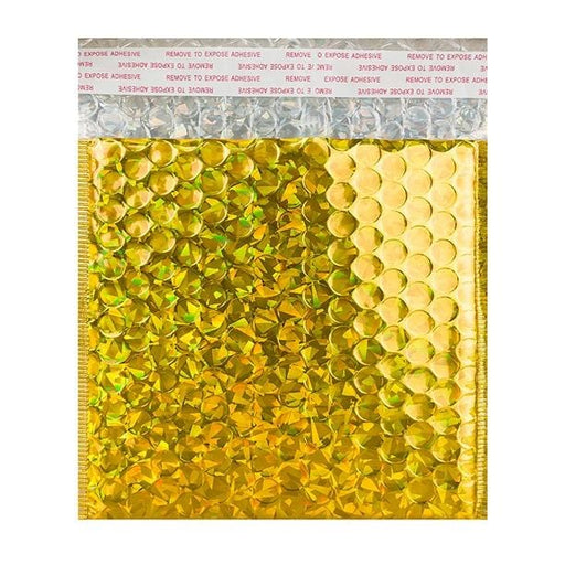 165 x 165 Gold Holographic Bubble Bags [Qty 100]