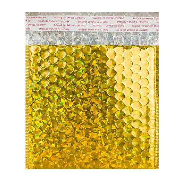 165 x 165 Gold Holographic Bubble Bags [Qty 100] (2131383320665)