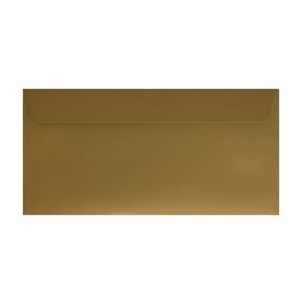 DL Metallic Gold 130gsm Peel & Seal Envelopes [Qty 500] 114 x 229mm (2131298353241)