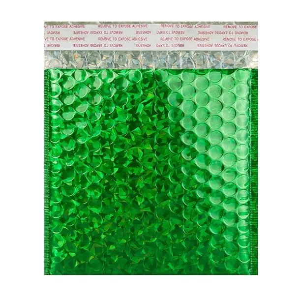 165 x 165 Green Holographic Bubble Bags [Qty 100]