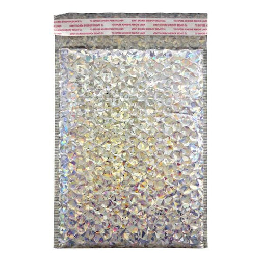 C5+ Metallic Silver Holographic Padded Bubble Envelopes [Qty 100] 180mm x 250mm