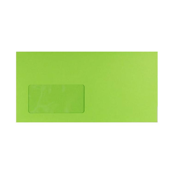 DL Lime Green Window 120gsm Peel & Seal Envelopes [Qty 250] 114 x 229mm