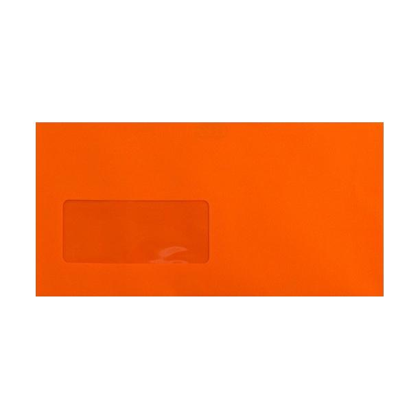 DL Sunset Orange Window Envelopes [Qty 500] 120gsm Peel & Seal 110 x 220mm (2131041747033)