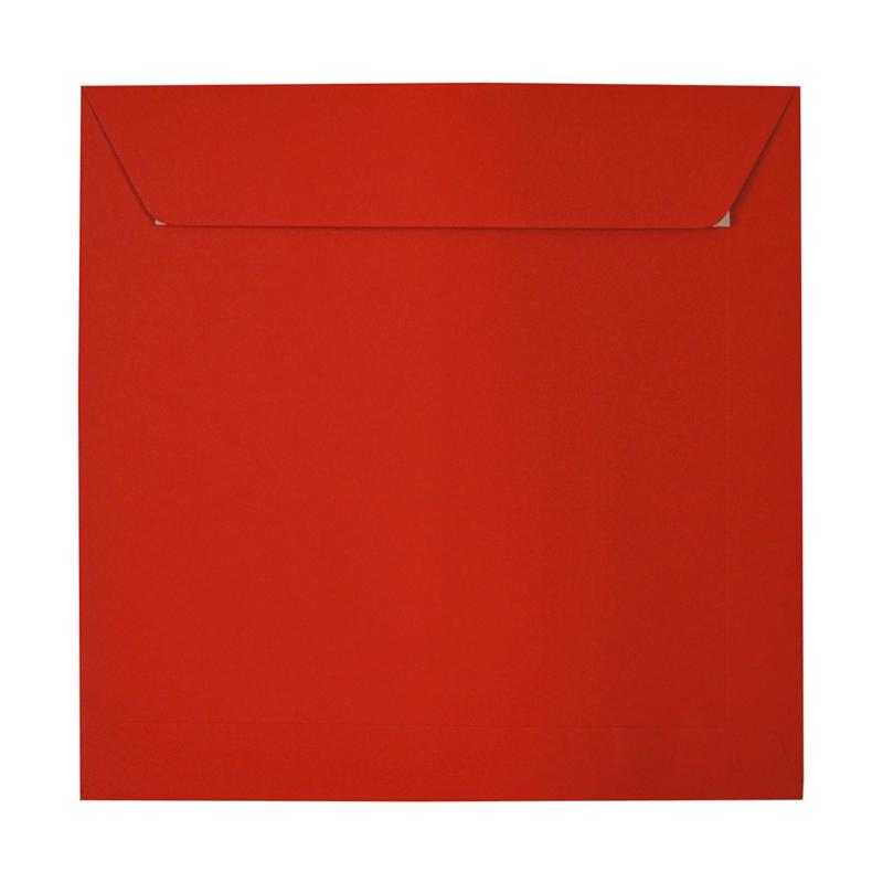280 x 280mm Square Poppy Red Peel & Seal Envelopes [Qty 250] (2131305201753)