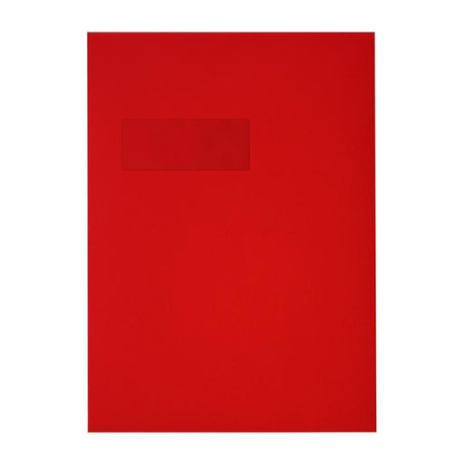 C4 Window Pillar Box Red 120gsm Peel & Seal Envelopes [Qty 250] 229 x 324mm
