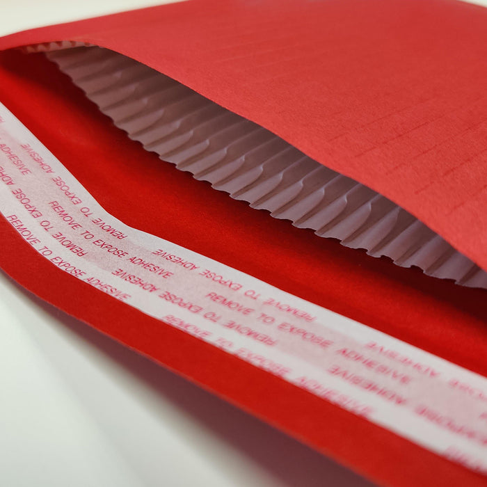 165 x 100mm Red 180gsm Recyclable Corrugated Bags [Qty 200] (4441112969305)