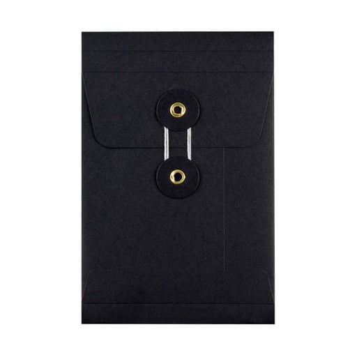 C6 Black Gusset String & Washer Envelopes [Qty 100] 162 x 114 x 25mm