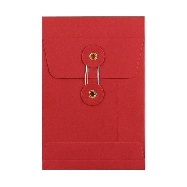 C6 Red Gusset String & Washer Envelopes [Qty 100] 162 x 114 x 25mm