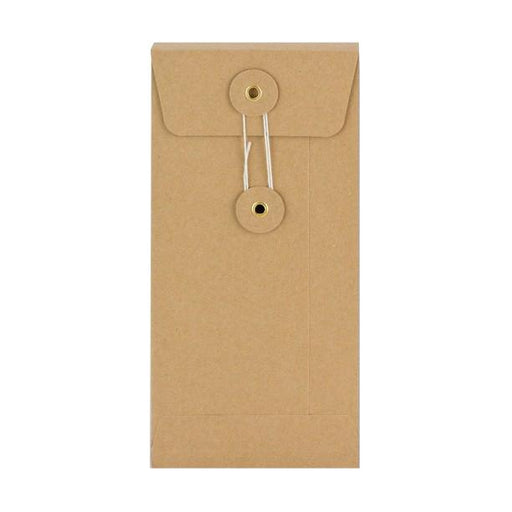 DL Manilla Gusset String & Washer Envelopes [Qty 100] 220 x 110 x 25mm