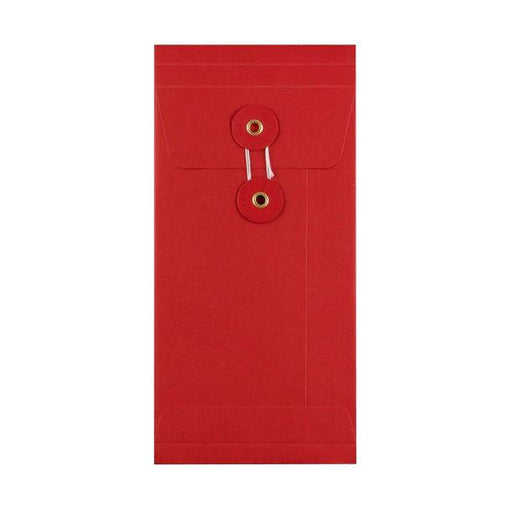 DL Red Gusset String & Washer Envelopes [Qty 100] 220 x 110 x 25mm