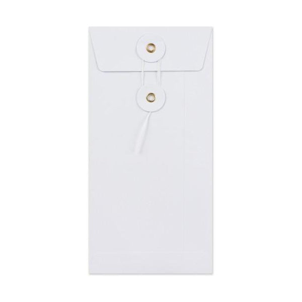 DL White Gusset String & Washer Envelopes [Qty 100] 220 x 110mm