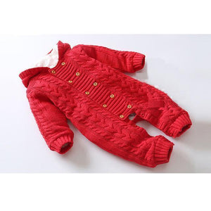 Oscar Knitted Sweater Hooded Romper Red / 18M Mollycoddle Me Baby Boy Rompers mollycoddle-me.myshopify.com Mollycoddle Me
