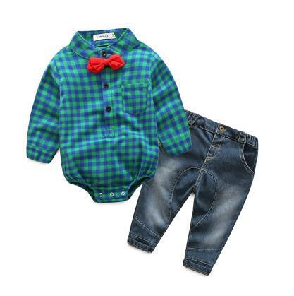 Jeremy rompers shirt with denim jeans set Green / 24M Mollycoddle Me Baby Boy Sets mollycoddle-me.myshopify.com Mollycoddle Me