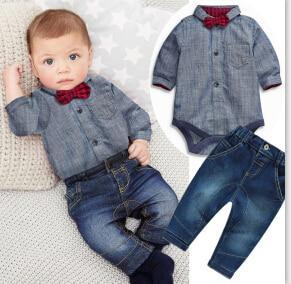 Jeremy rompers shirt with denim jeans set Grey / 24M Mollycoddle Me Baby Boy Sets mollycoddle-me.myshopify.com Mollycoddle Me