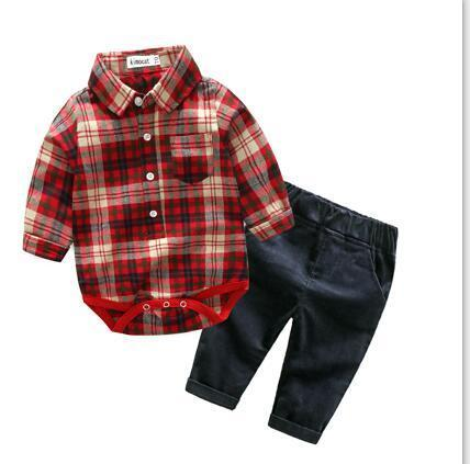 Jeremy rompers shirt with denim jeans set Orange / 24M Mollycoddle Me Baby Boy Sets mollycoddle-me.myshopify.com Mollycoddle Me