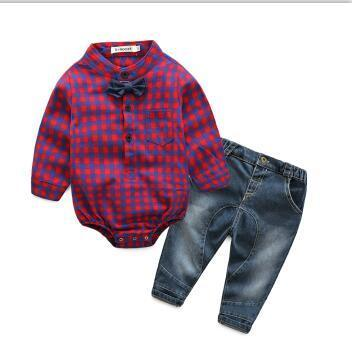 Jeremy rompers shirt with denim jeans set Pink / 24M Mollycoddle Me Baby Boy Sets mollycoddle-me.myshopify.com Mollycoddle Me