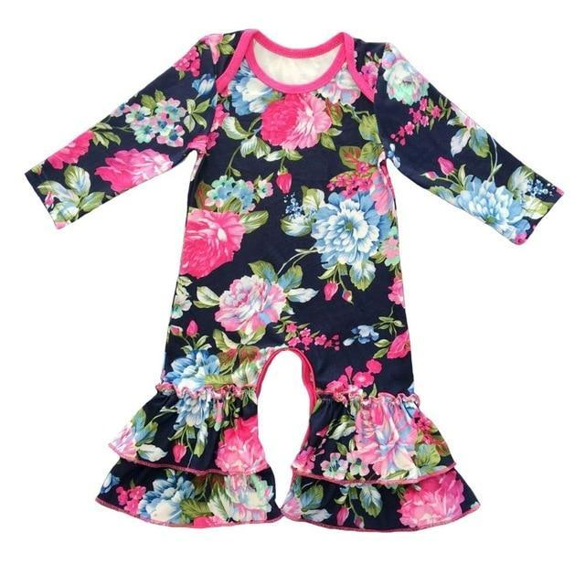 Greer Floral Ruffle Romper Black / 24M Mollycoddle Me Baby Girl Rompers mollycoddle-me.myshopify.com Mollycoddle Me