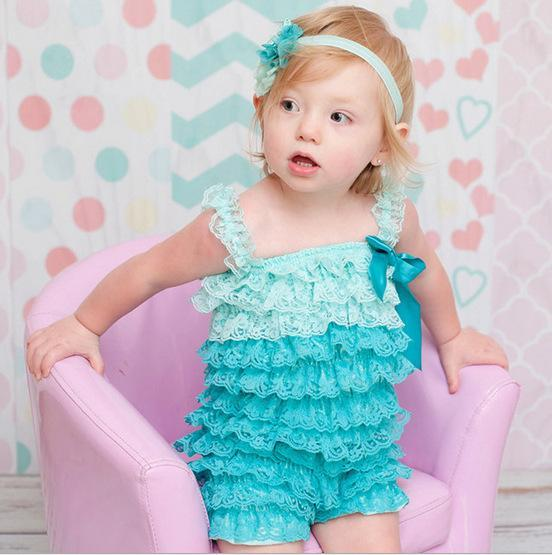 Celia Lace Ruffle Summer Rompers Blue / 24M Mollycoddle Me Baby Girl Rompers mollycoddle-me.myshopify.com Mollycoddle Me