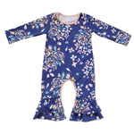 Greer Floral Ruffle Romper Blue / 24M Mollycoddle Me Baby Girl Rompers mollycoddle-me.myshopify.com Mollycoddle Me