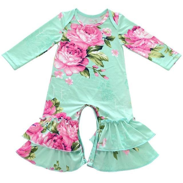 Greer Floral Ruffle Romper Green / 24M Mollycoddle Me Baby Girl Rompers mollycoddle-me.myshopify.com Mollycoddle Me