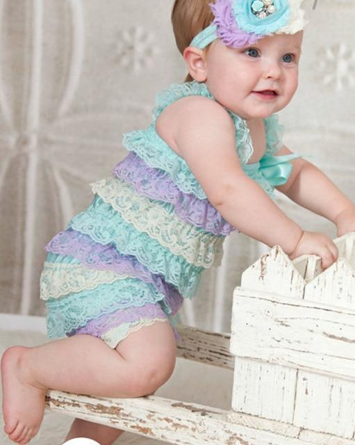 Celia Lace Ruffle Summer Rompers Green / 24M Mollycoddle Me Baby Girl Rompers mollycoddle-me.myshopify.com Mollycoddle Me