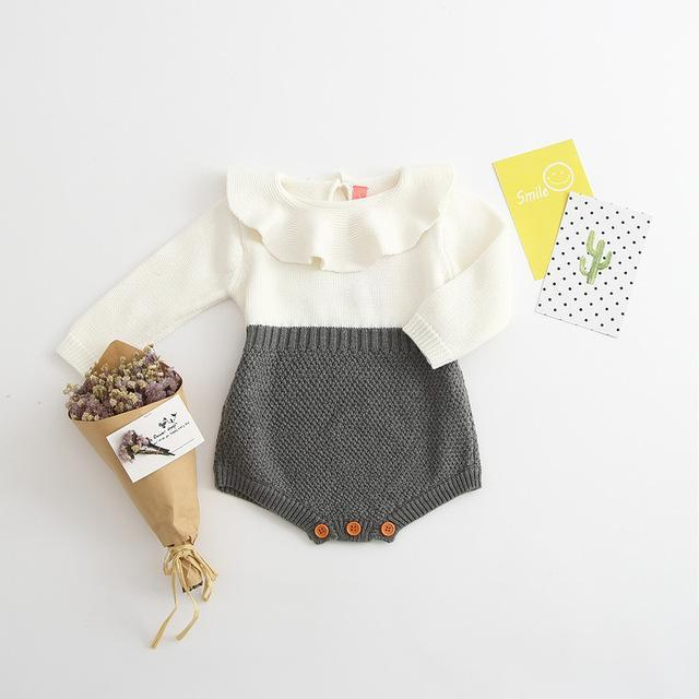 Dual tone Baby Girl Knitted Romper Grey / 24M Mollycoddle Me Baby Girl Rompers mollycoddle-me.myshopify.com Mollycoddle Me