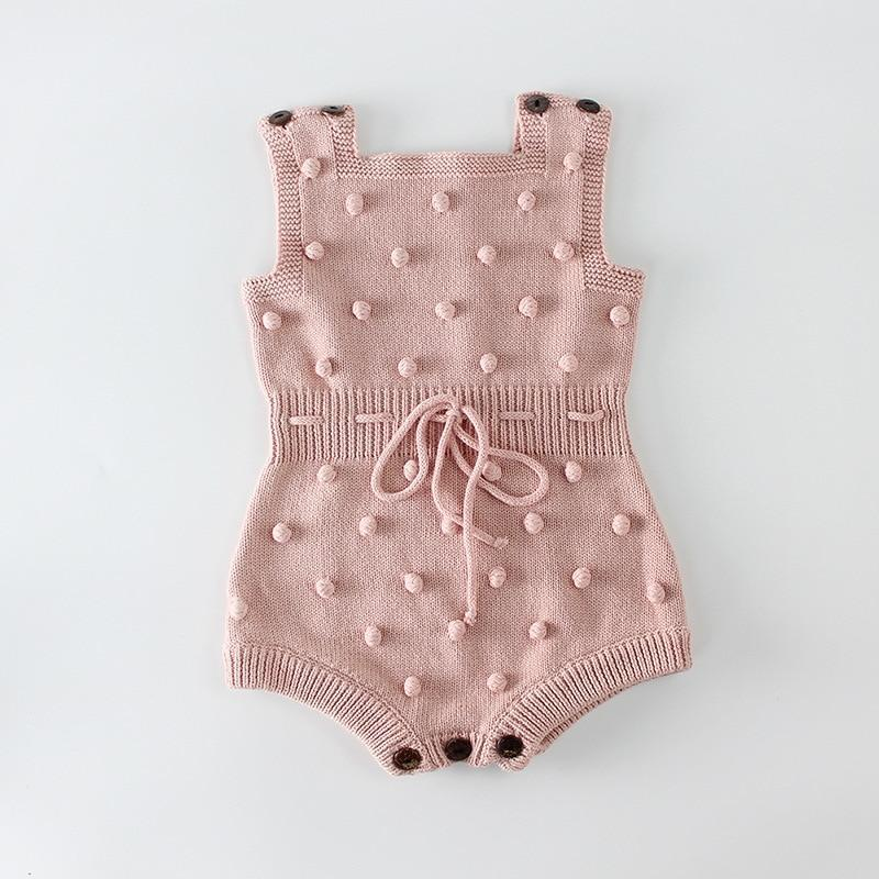 Krystle Knitted Designer Sleeveless Romper Pink / 24M Mollycoddle Me Baby Girl Rompers mollycoddle-me.myshopify.com Mollycoddle Me